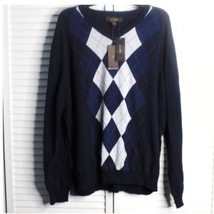 NWT Tasso Elba Blue V neck Sweater
